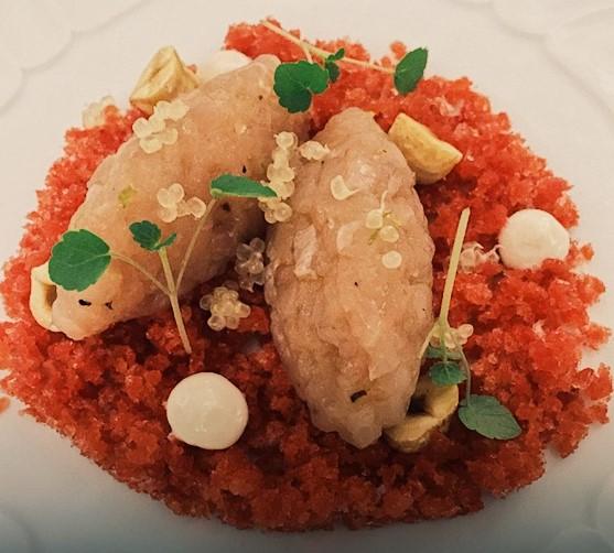 Tartare di cernia su granita di fragole, nocciole e caviale di limone - ristorante St. George Taormina - Marco Musso blog